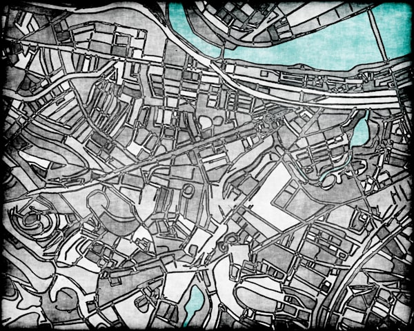 Grey Abstract Map Art – Boston City Print of FENWAY DISTRICT. Fenway Park | Boston Red Sox | Boston City Map | City Neighborhood Art | Longwood