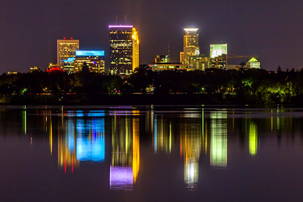 Bde Maka Ska Reflection - Minneapolis Skyline Art | William Drew