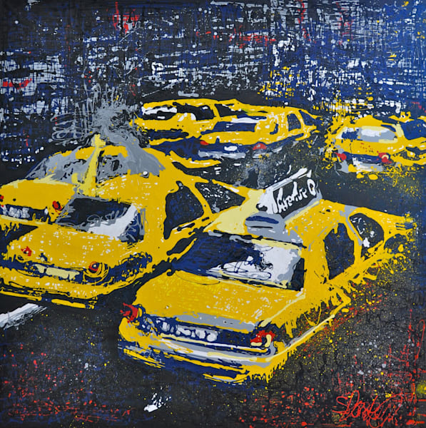 New York Taxi Cab Cityscape Original Drip Painting by Steph Fonteyn