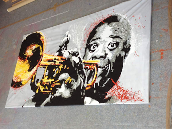 Louis Armstrong Original Drip Painting by Steph Fonteyn
