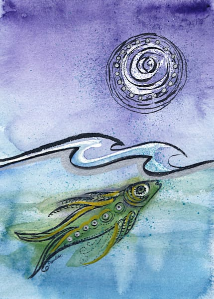 Cool Green Fish abstract moon available at boudreau-art.com