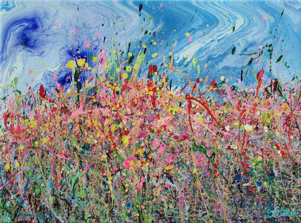 Jigging Chuparosa/Original Abstract Wildflowers Painting