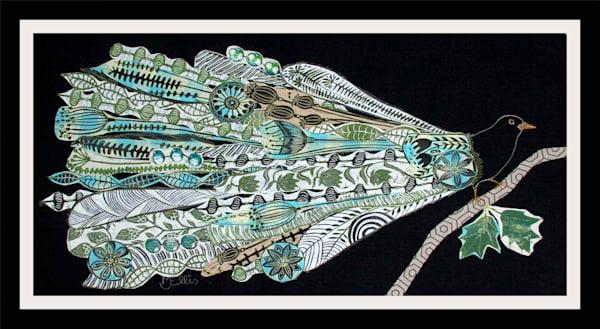 blackbird linocut collage made from hand printed fabrics, unique wall art in mixed media by printmaker Mariann Johansen-Ellis, art, paintings