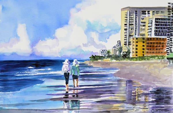 Ladies walking on a beach in Florida