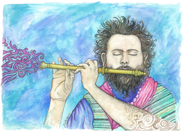 musical flute watercolor painting