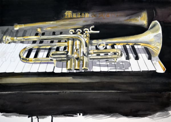 Horn on Piano - watercolor