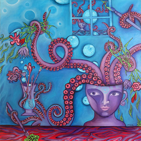 creative purple octopus art