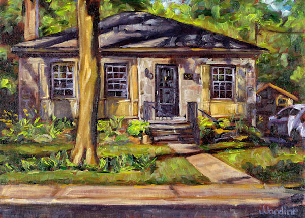 Prints of a painted portrait of a home on Woodlands in Burlington, Ontario - oil on canvas by Janet Jardine, Burlington artist