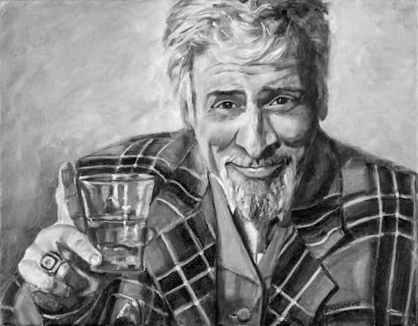 Jaymz Bee with Scotch, in a Scotch-ish Suit - black and white print of the colour painting created for his book of poems and lyrics (Cosmic Fishing) that was printed in black and white.
