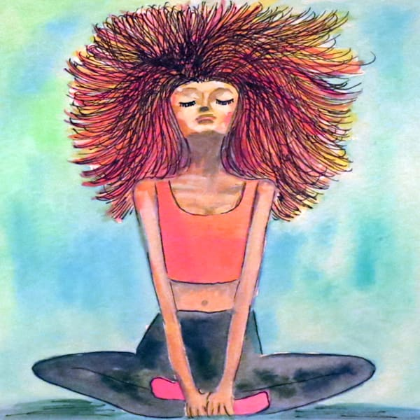 Serenity Yoga Girl Square Art For Sale