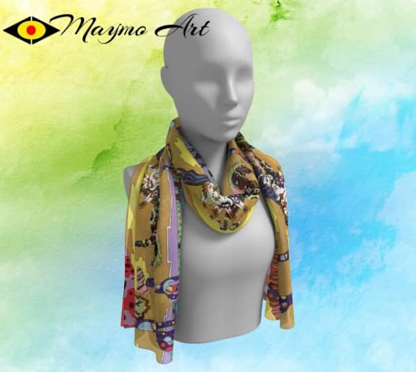 artwork printed on scarf