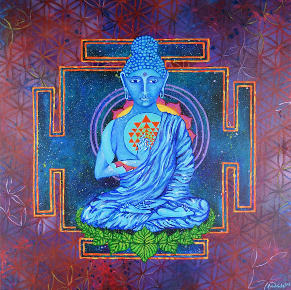 meditative buddha art with flower of life pattern