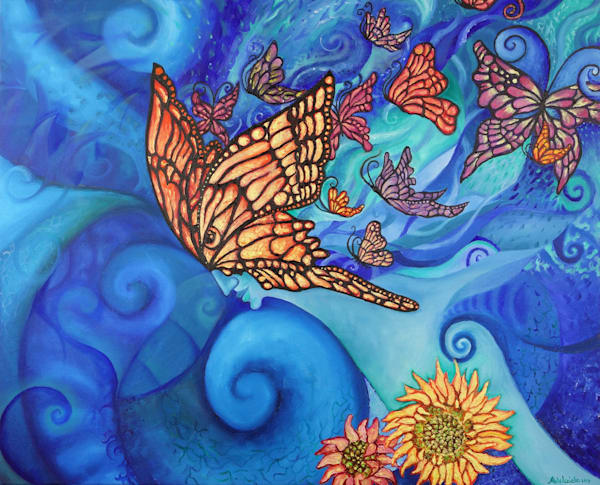 Butterfly in the sky with sunflowers painting