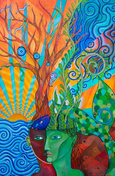 mermaid and tree art