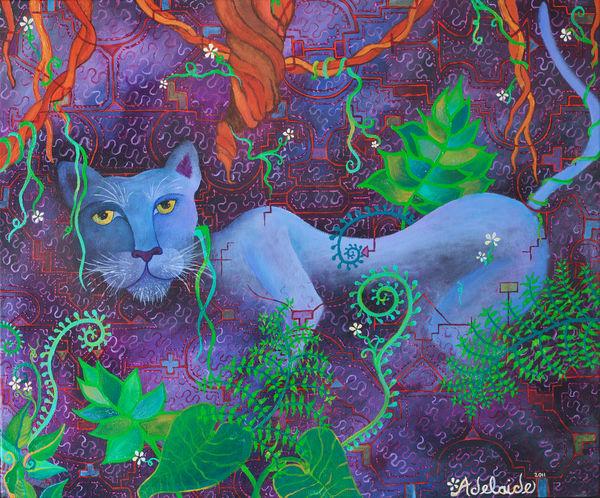 Sacred ayahuasca vine Jaguar spirit art