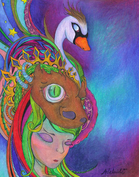 Spirit animal headdress colored-pencil art