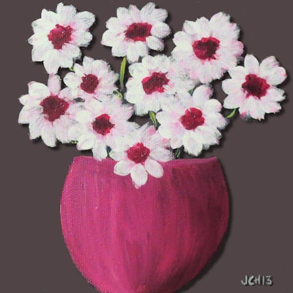White Flowers In Cherry Vase Art For Sale
