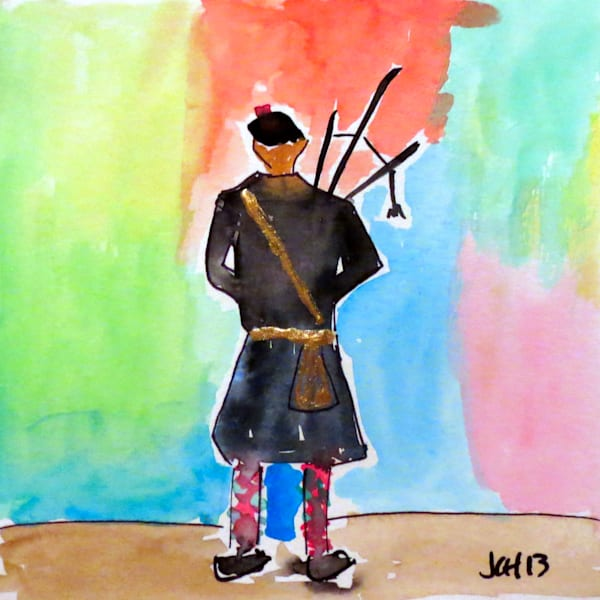 Bagpiper Impressions Watercolor Art For Sale
