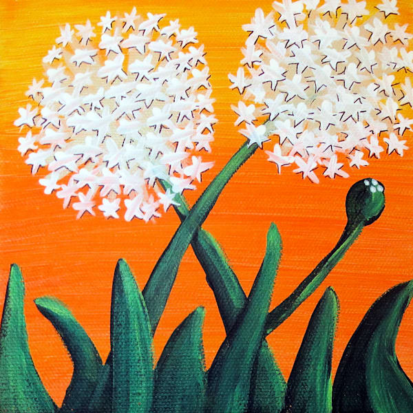 Dandelions On Orange Art For Sale