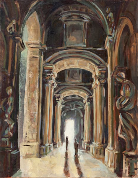 Pilgrimage Saint Peter's Basilica Original Painting