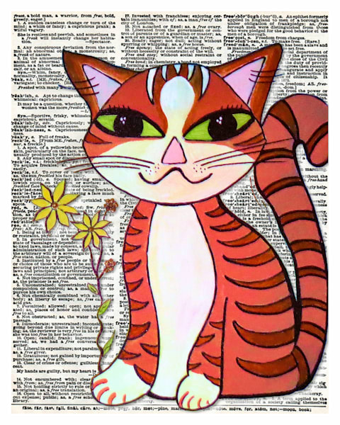 Dictionary Kitty Art For Sale
