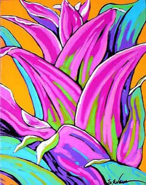 Pink Bromeliad Dances in Yellow