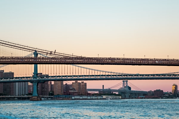 Pink Sunset Behind The Bridges To Manhattan Photograph For Sale As Fine Art