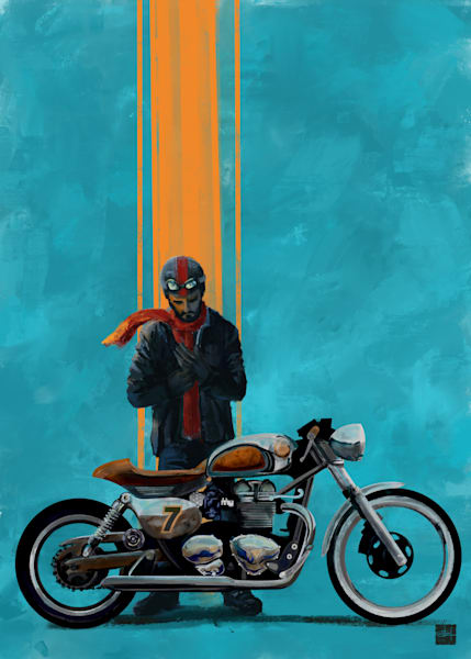 Vintage caferacer and rider original art by Sassan Filsoof, available as fine art prints. Click to order.