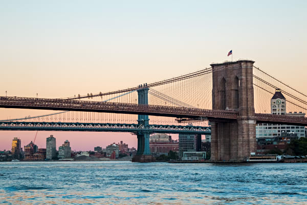 Sunset Behind The Brooklyn Bridge Photograph For Sale As Fine Art