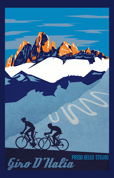 Giro D'Italia cycling art prints by Sassan Filsoof , Tour of Italy, cycling art, road racing, bike poster, retro cycling, biking, mountain landscape, cyclist,