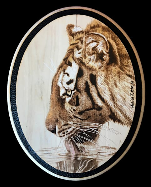 Drinking Tiger Print Art by minisapyrography