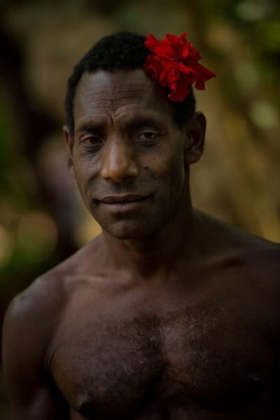 Rom Dancer with Red Hibiscus - Fanla Village, Ambrym Island, Vanuatu 2012
