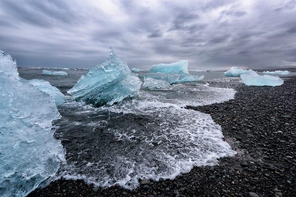 Black Sand, Blue Ice    Photography Art | Carol Brooks Parker Fine Art Photography