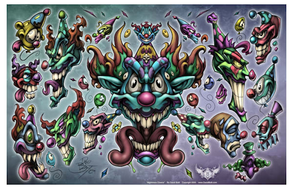 Nightmare Clowns - Tattoo Designs by David Bollt