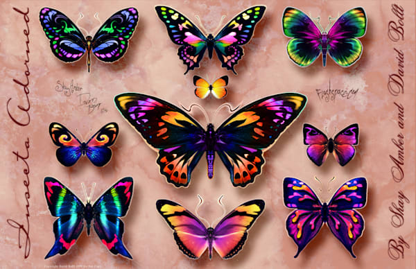 Insecta Adorned Set 2 - World famous butterfly tattoo designs by David Bollt