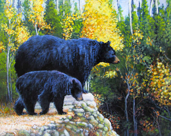 Black Bear And Cub Orig Art | Charles Wallis
