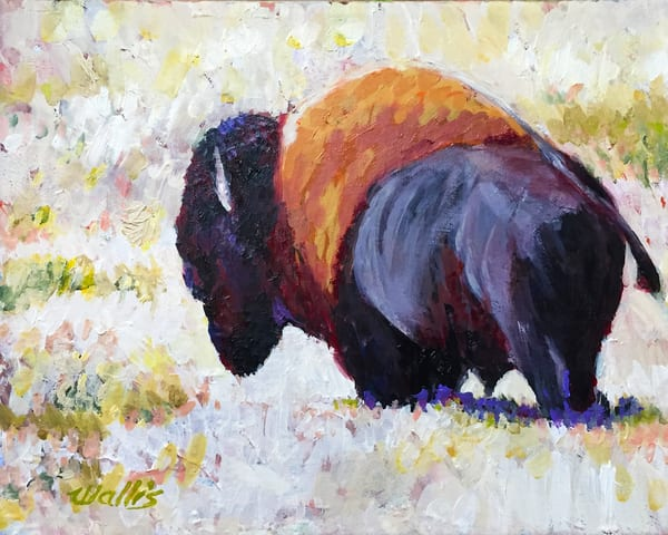 Buffalo On Winter Plains Art | Charles Wallis