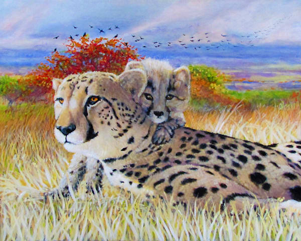 Cheetah And Cub Fw Art | Charles Wallis
