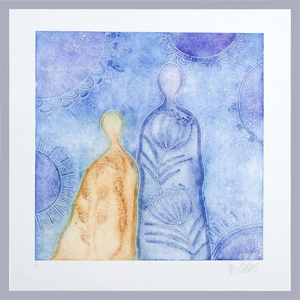 art, painting with couple, lovers, mother and child, mono print in blue and yellow by Printmaker Mariann Johansen-Ellis, art, paintings