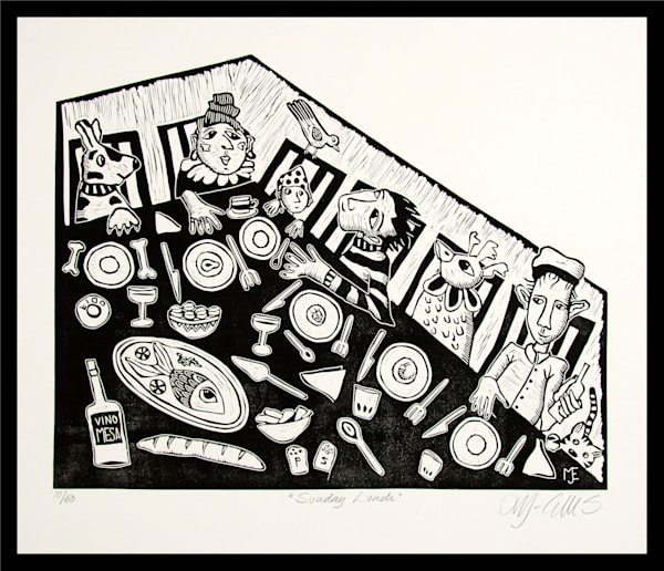 Sunday Lunch - linocut