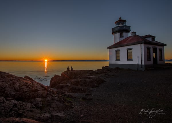 Sunset with Lime Kiln Lighthouse Photo for sale by Barb Gonzalez Photography