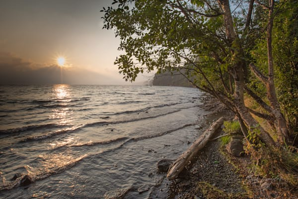 Golden shoreline over lake photo for sale |Barb Gonzalez Photography