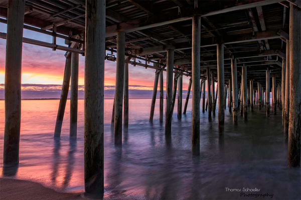 Scenes from the coast of Maine/Old Orchard Piers at sunrise Fine Art Prints