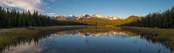 Panoramic Photo Bierstadt Lake at Sunrise - RMNP Snow Capped Mountain Peaks