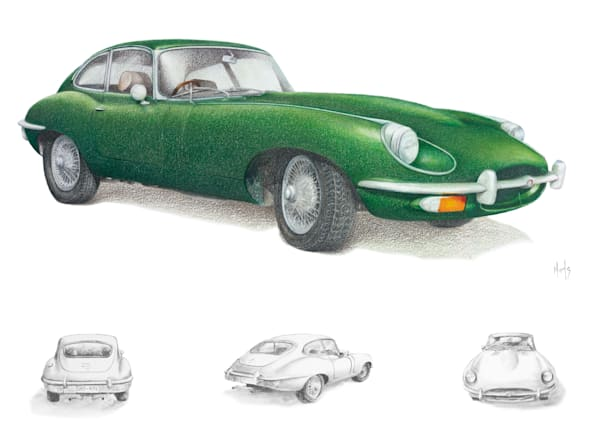 Jag E-Type with Drawings