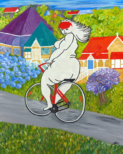 Girl Riding a Bike - Original