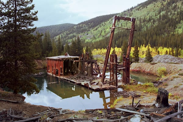 Fine Art photograph of the Reiling Gold Dredge in French Gulch, Breckenridge, Colorado around 1979