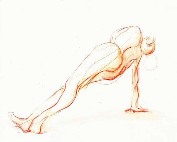 Original Side Plank Yoga Art Watercolor Drawing