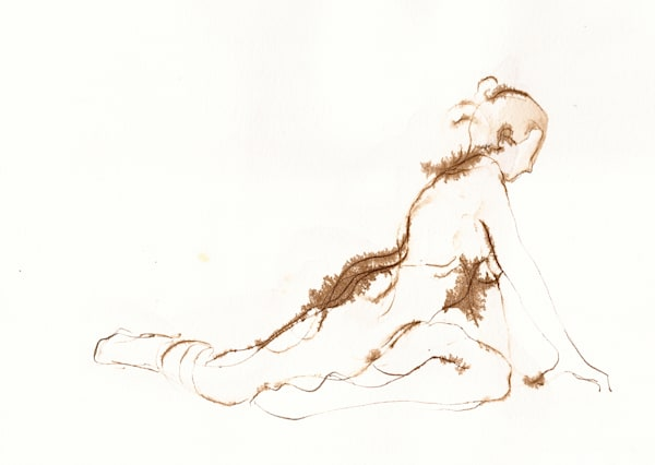 Pigeon Pose Original Yoga Drawing