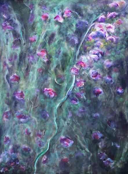 Acrylic painting of Sweetpeas painted in deep colors. Art by Susan Kraft